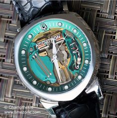 Bulova Accutron Spaceview Anniversary, fitted with a new caliber 214 movement reproduced by the manufacture to original specs. of these movements were handmade in Japan. Bulova Accutron, Antique Watches, 50th Anniversary, Cool Watches, Specs, Japan, The Originals, Cool Stuff, Antiques