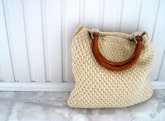 Fall fashion handmade handbag BEIGE Knit tote bag by HeartyGift