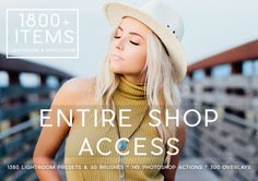 **1800+ Items!!!! 1380+ Lightroom Presets, 60 Lightroom Brushes, 145 Photoshop Actions, 300 Overlays -Includes my entire shop of Photoshop and Lightroom Resources, Art & Logos not included-  I am a full time photographer, designer, artist, dog mom and wife. My husband and I are the owners & photographers of our own Photography company. We created these resources to speed up our workflow and maintain consistency in our work. We loved what we created and it helped up so much we wanted t...