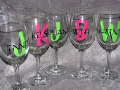 more cute glasses for bridesmaids! Personalized Wine Glasses by ellagoods on Etsy, $9.00
