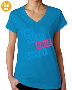 Eat Sleep Rave Repeat Blue And Pink Graphic Design Women's V-Neck T-Shirt XX-Large (*Partner-Link)