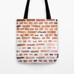 Brick wall Tote Bag by karidesign Poplin Fabric, Brick Wall, Hand Sewn, Original Artwork, Stress, Reusable Tote Bags, America, Sewing, Couture