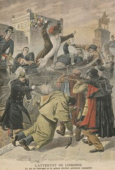 Assassinations of King Carlos I (1863-1908) of Portugal & his heir Prince Luís Filipe (1887-1908) by Unknown Artist. Republican activist Manuel Buiça, a former army sergeant fired 5 shots from a rifle hidden under his overcoat. The king died immediately, his heir Prince Luís Filipe died 20 minutes later &  Prince Manuel was hit in the arm. The Queen alone escaped injury. The two assassins were killed by police & bodyguards. The youngest son Prince Manuel was proclaimed King of Portugal.