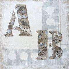 Begoña Pardo Cuadro moderno collage Letras I Titulo de la obra: Letras I. Cuadro moderno en Collage sobre lienzo o sobre bastidor grueso de madera. Obra...