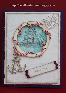 Hair gel card with Open Sea Stamp set and Woodgrain Embossing Folder  Site is in German - Omellie's Designs August 25, 2012