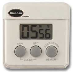 Mini digital kitchen timer featuring 99 minutes 59 Seconds countdown and memory function. Complete with stand, clip and magnetic fixing.