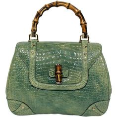 Pre-owned Gucci Mint Green Alligator Handbag with Bamboo Hardware ($6,500) ❤ liked on Polyvore featuring bags, handbags, purses, borse, handbags and purses, top handle bags, mint handbag, green purse, long handle bag and pre owned handbags