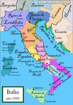 Italy 1000 AD - Duchy of Benevento - Wikipedia Italy Map, Italy Travel, History Of Islam, Empire Romain, Holy Roman Empire, Thinking Day, Southern Italy, Old Maps, European History