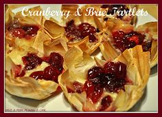 Made these as a Thanksgiving appetizer and they were a huge hit! Purchase phyllo cups and add in a little brie cheese and bake. I put cranberry sauce (with whole cranberries) on the tops of them when they came out of the oven. Would work with other fruit/nut/sweet toppers also.