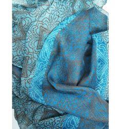Geometric Flower Blue Scarf - The Scarves Company