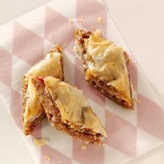 """Buttery Rhubarb Baklava Recipe -""""I like to take treats to my co-workers at the nursery/gift shop where I work. When rhubarb season arrives, I make this rich, sweet baklava so I can share the fruits of my garden."""" —Sue Bolsinger, Anchorage, Alaska"""