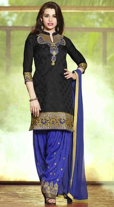 USD 31.53 Black Cotton Jacquard Punjabi Suit 47501