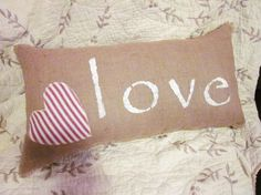 Burlap pillow love white pillow love with red by 112FarmhouseLayne, $22.00