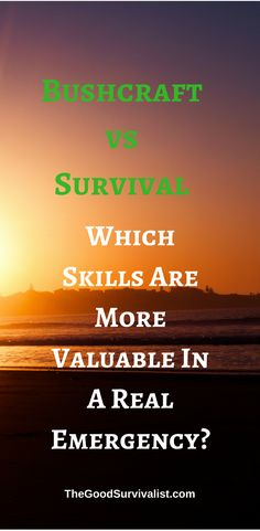 If there ever is a major disaster, or survival situation who is the most likely to survive?   http://www.thegoodsurvivalist.com/bushcraft-vs-survival-which-skills-are-more-valuable-in-a-real-emergency/
