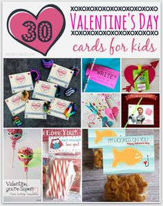 30 DIY Valentine's Day Cards for Kids - lots of free printables! See them all here: http://pandorasdeals.com/diy-valentines-day-cards-kids/