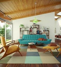 FurnitureStylish Mid Century Living Room With Blue Sofa Feta Brown Cuhions And Unique Armchair Above Modern Bold Plaid Rug Wood