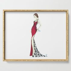#ServingTray #Tray #red #black #fashionIllustration #girl #homedecor #society6 #Gift #GiftIdeas