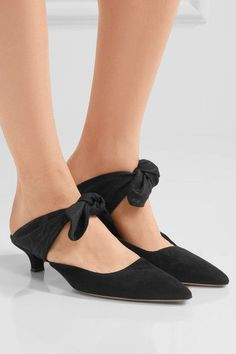 Heel measures approximately 40mm/ 1.5 inches Black suede and moire Slip on Made in ItalySmall to size. See Size & Fit notes.