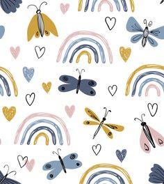 Cute Pattern, Pattern Design, Vector Pattern, Design Design, Kids Patterns, Print Patterns, Pastel Rainbow Background, Rainbow Art, Kids Prints