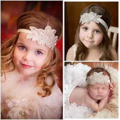"""So cute for the dashing ladies! Floral appliqué with crystals On elastic headband Available in 2 sizes: 35cm = 13.77"""" recommended for ages 1 yr. and under 40cm = 15.75"""" recommended for ages 1-6 yr."""
