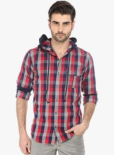 Basics Red Checks Hooded Shirt #HoodedShirt