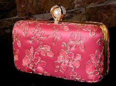 bagzVela Pink color Golden Work Clutch