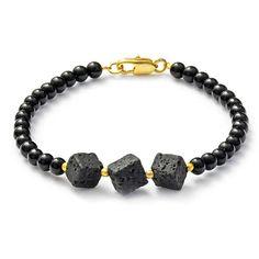 MIA bracelet with lava and onyx  /////  MIA Armband mit Lava und Onyx