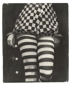 Checkered bloomer and striped stockings