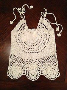 Cute! Crochet Tank Top in Cream! $26