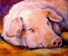 ...'pink pig' art by marcia baldwin