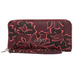 Guess Delaney Large Zip Around Wallet ($45) ❤ liked on Polyvore featuring bags, wallets, bordeaux multi, zip around wristlet, zip-around wallet, wristlet bag, zip around wristlet wallet and guess wristlet