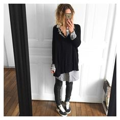 Froissée ✔ pull #americanvintage chemise #vila #vilaclothes cuir #stouls baskets #nike #ootd #whatiamwearingtoday