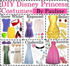 """DIY Disney Princess Costumes"" by best-poly-tip-girls ❤ liked on Polyvore"