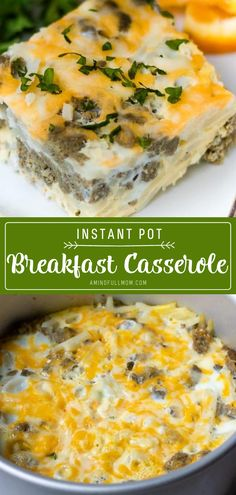 A quick breakfast idea perfect for busy mornings! Instant Pot Breakfast Casserole can be prepped ahead of time and baked in the morning for an easy, hearty breakfast perfect for a crowd. Add this to your breakfast menu! Easy Breakfast Casserole Recipes, Overnight Breakfast Casserole, Breakfast Casserole Sausage, Instant Pot Pressure Cooker, Pressure Cooker Recipes, Kitchen Recipes, Cooking Recipes, Breakfast Menu, Vegan Recipes Easy