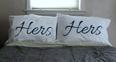 "Romantic Valentine Gifts for Lesbian Couples:  ""Hers"" and ""Hers"" Pillow Cases (set of 2) by The Cascadian Home @ Etsy"