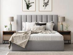 Bed Frame Design, Bedroom Bed Design, Room Ideas Bedroom, Home Bedroom, Lift Storage Bed, Bed Frame With Storage, Bed Designs With Storage, Bedroom Storage, Grey Bedding