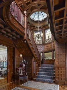 That staircase! // An authentically restored elegant Queen Anne Victorian mansion located in Plainfield New Jersey's Van Wyck Brooks Historic District and listed in the National Register of Historic Homes Victorian Interiors, Victorian Architecture, Beautiful Architecture, Victorian Homes, Interior Architecture, Victorian Era, Victorian Library, Victorian Furniture, Stairs Architecture
