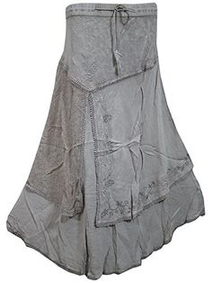 Womans Maxi Skirt Grey Stonewashed Rayon Embroidered Peasant Long Skirts Mogul Interior http://www.amazon.com/dp/B00XKTVL4W/ref=cm_sw_r_pi_dp_kJZuvb135C3TE
