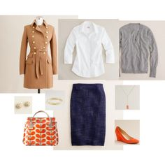 #69 Work Wear by bluehydrangea on Polyvore featuring J.Crew, Orla Kiely, wedge shoes and pencil skirt