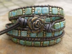Turquoise Picasso Tile Beaded Wrap Bracelet by HungOutOnAWire Beaded Wrap Bracelets, Handmade Bracelets, Beaded Jewelry, Jewelry Bracelets, Crochet Bracelet, Pandora Bracelets, Jewelery, Beaded Leather Wraps, Leather Cuffs