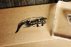 "Alligator Lounging 2""x3"" Stamp"