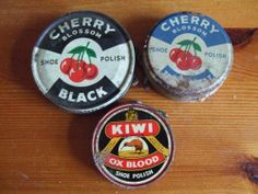 Vintage shoe polish tins/Cherry Blossom/ Kiwi. I had to clean my shoes the night before school.  We had to put them on newspaper in the kitchen after they were done.