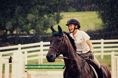 riding in the rain.