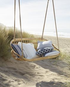 This rattan bench is a coastal getaway. Inspired by a Scandinavian design from the this scooped-seat bench is made for two. Hanging Furniture, Outdoor Furniture, Outdoor Decor, Outdoor Chairs, House Furniture, Hanging Chairs, Garden Furniture, Furniture Ideas, Furniture Design