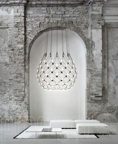 The arresting Mesh LED Suspension Lamp was created by Francisco Gomez Paz for the award-winning Italian lighting company Luceplan.Gomez Paz hails from Argentina Home Interior Design, Industrial Light Fixtures, Lighting Design, Decor, Lamp Design, Interior Design, Interior, Rustic Lighting, Farmhouse Style Lighting