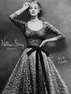 Sunny Harnett wearing a dress by Nathan Strong, 1952.