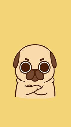 Pug Cartoon, Cute Cartoon Drawings, Cute Kawaii Drawings, Cute Animal Drawings, Dog Wallpaper Iphone, Cute Wallpaper Backgrounds, Cute Cartoon Wallpapers, Doodles Kawaii, Collage Mural