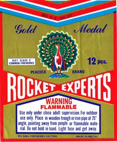 Peacock Gold Medal rocket experts firework label