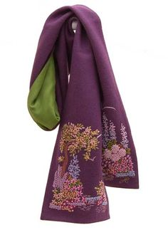 Gorgeous hand embroidered Felt Country Garden Scarves from English fiber artist and author, Jan Constantine