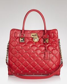 a58c07d4c9 New Style Michael Kors Large Red Hamilton Quilted Tote Handbag